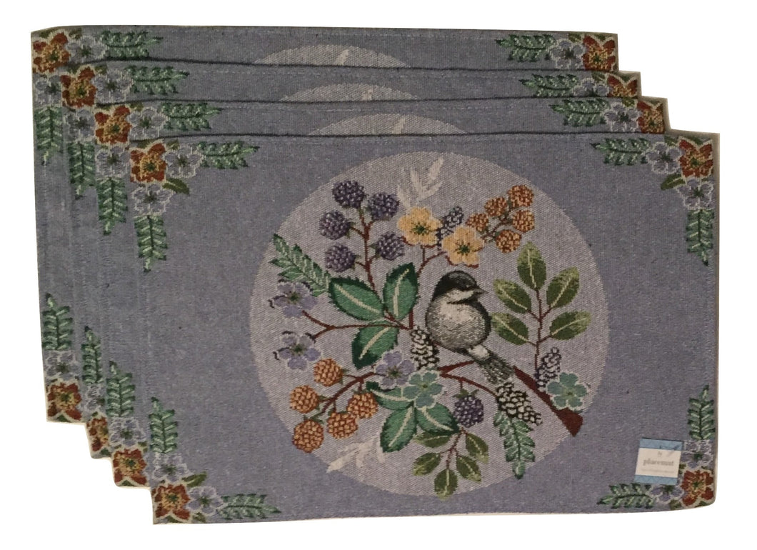 Tapestry Placemats Set of 4 Chickadee Birds Flowers Blue
