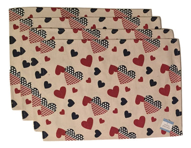 Set of 4 Canvas Placemats Patriotic Americana Red White Blue Hearts