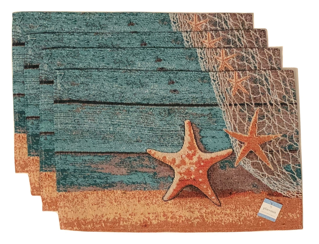 Tapestry Placemats Set of 4 Starfish Coastal Beach Nautical