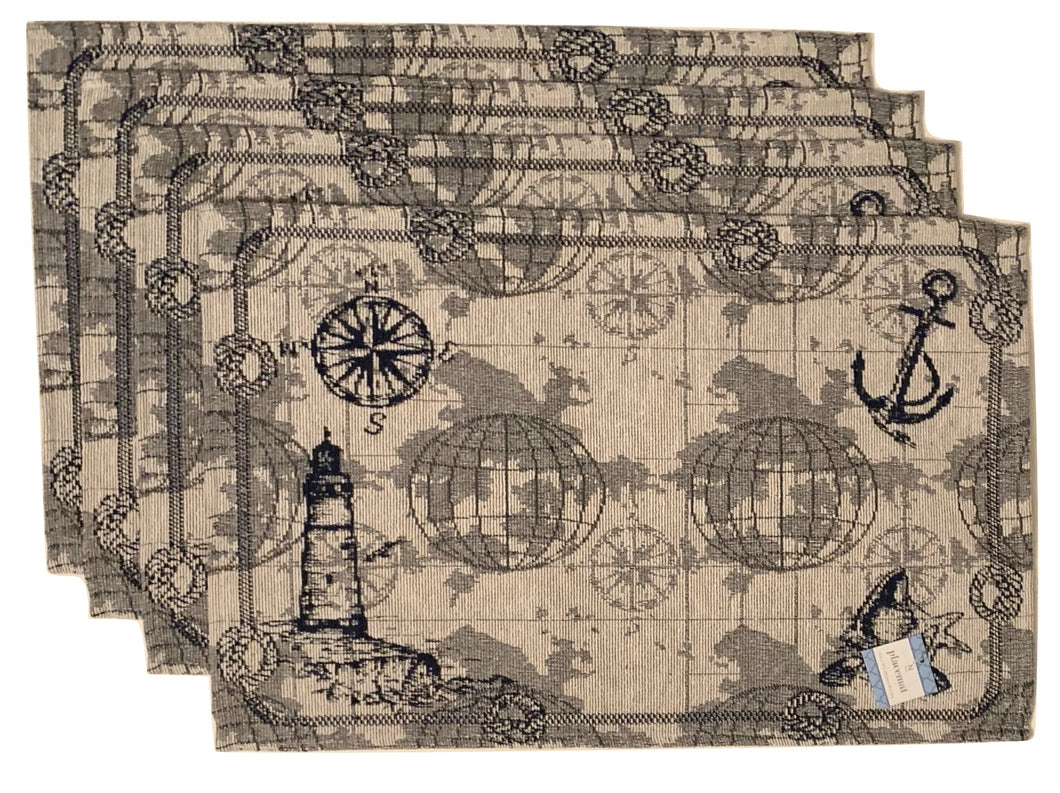 Tapestry Placemats Set of 4 Nautical Map Lighthouse