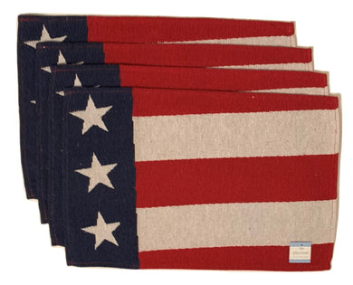 Tapestry Placemats Set of 4 Patriotic Wavy Flag USA