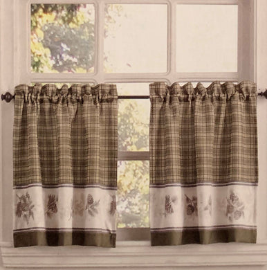 Pine Valley Border Tier Curtain Pairs Natural 36 inch length Cabin Lodge