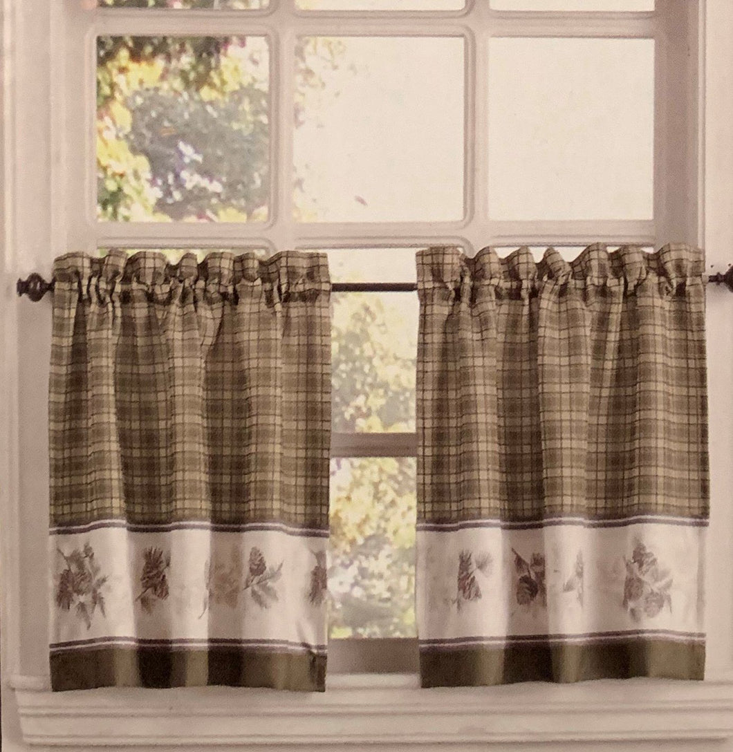 Pine Valley Border Tier Curtain Pairs Natural 24 inch length Cabin Lodge