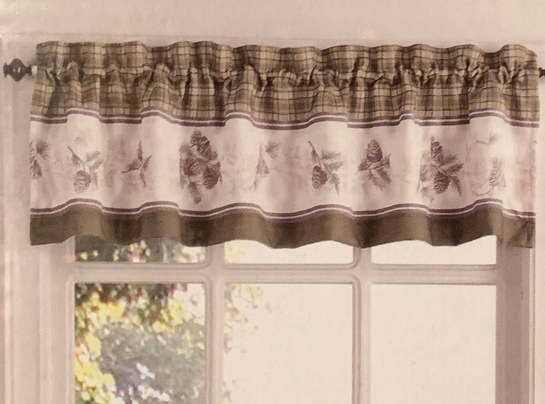 Pine Valley Valance Curtain Natural Brown Plaid Pinecones Cabin Lodge Northcrest