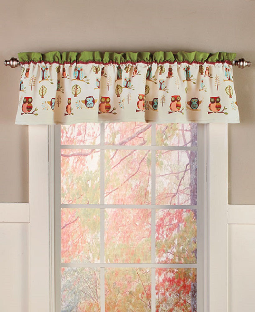 Owl Window Valance Curtain Lodge Cabin Woodland