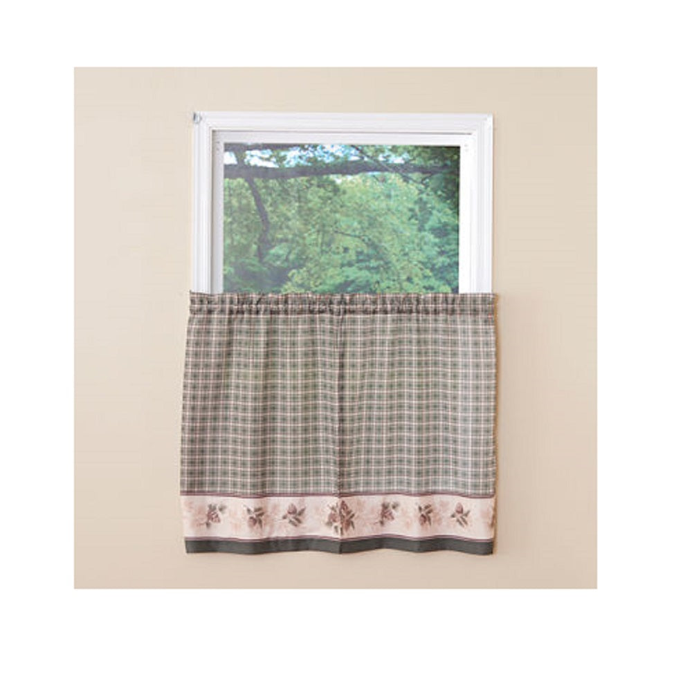 Pine Valley Border Tier Curtain Pairs Green 24 inch length Cabin Lodge