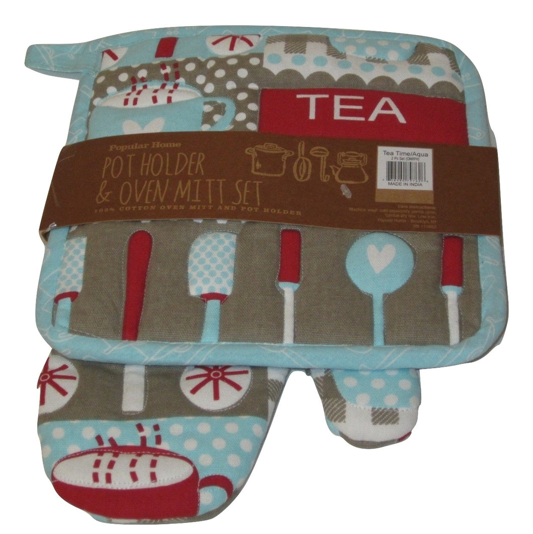 Tea Time Aqua Oversized potholder oven mitt set