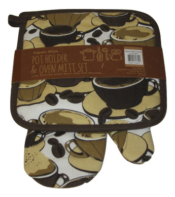 Chocolate Mocha Coffee Oversized potholder oven mitt set