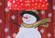 Christmas Snowman Tapestry Placemats Set of 4 Snowflakes Red Wooden Background