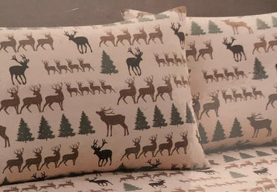 Pillowcases Deer and Pine Trees Cabin Lodge Remington Set of 2