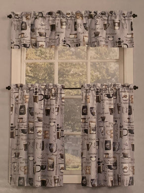 Kitchen Curtain Set Ristretto Coffee 36L Tiers and Valance Gray Lichtenberg