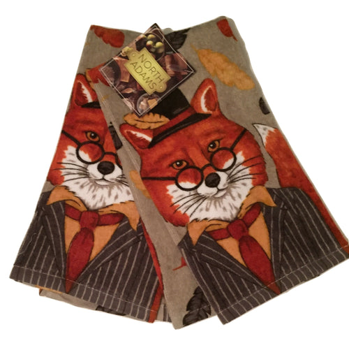 Fox in Suit Set of 2 Kitchen Towels Forest Friends