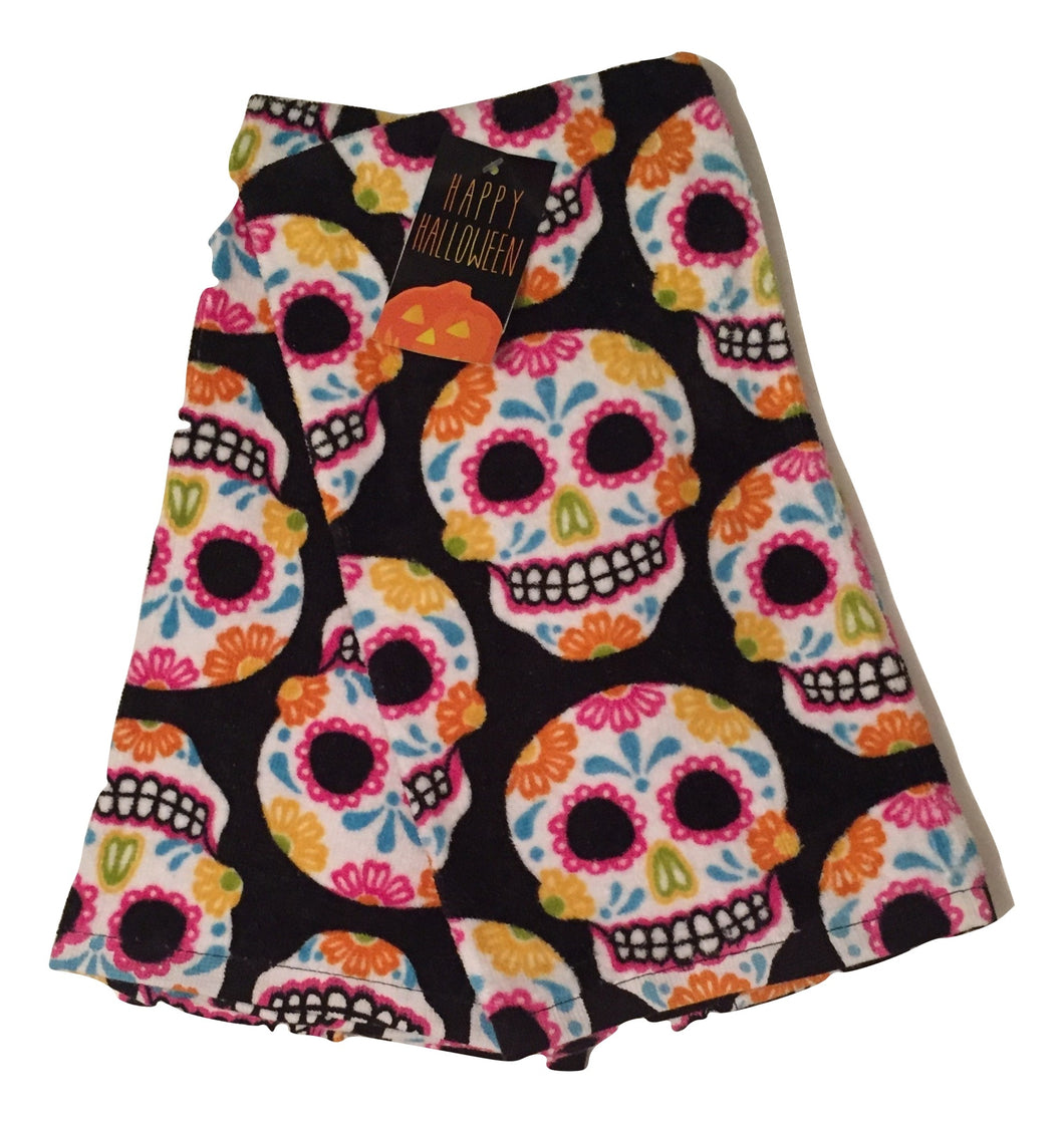 Day of Dead Sugar Skulls on Black Set of 2 Kitchen Towels Halloween Muertos