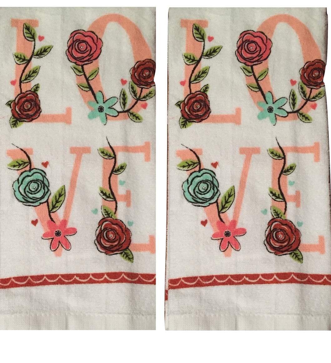 Ritz Set of 2 Kitchen Towels Love Floral Pink Green Flowers