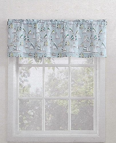 Lichtenberg Top of the Window Sailing Valance Sailboats Blue Nautical