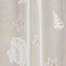 Seashells Sea shell Starfish Lace Coastal Ivory Kitchen Curtain Valance