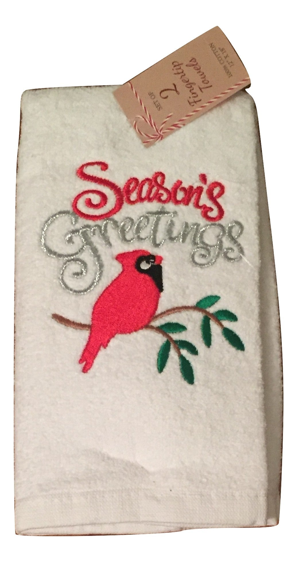 Christmas Set of 2 Fingertip Towels Seasons Greetings Cardinal