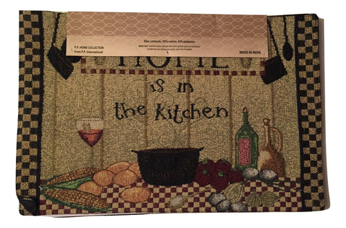 Tapestry Placemats Set of 4 Home Is In The Kitchen Wine Cooking