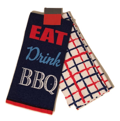 Kitchen Towels Set of 2 Eat Drink BBQ Red White Blue Americana Patriotic