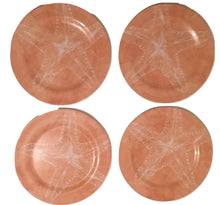 Starfish Coral Melamine Ware Dinner Plates Set of 4 Coastal