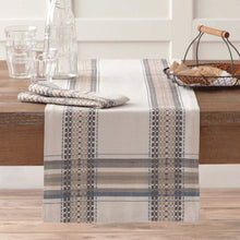 Terra Woven French Picnic Table Runner in Blue 14 x 90