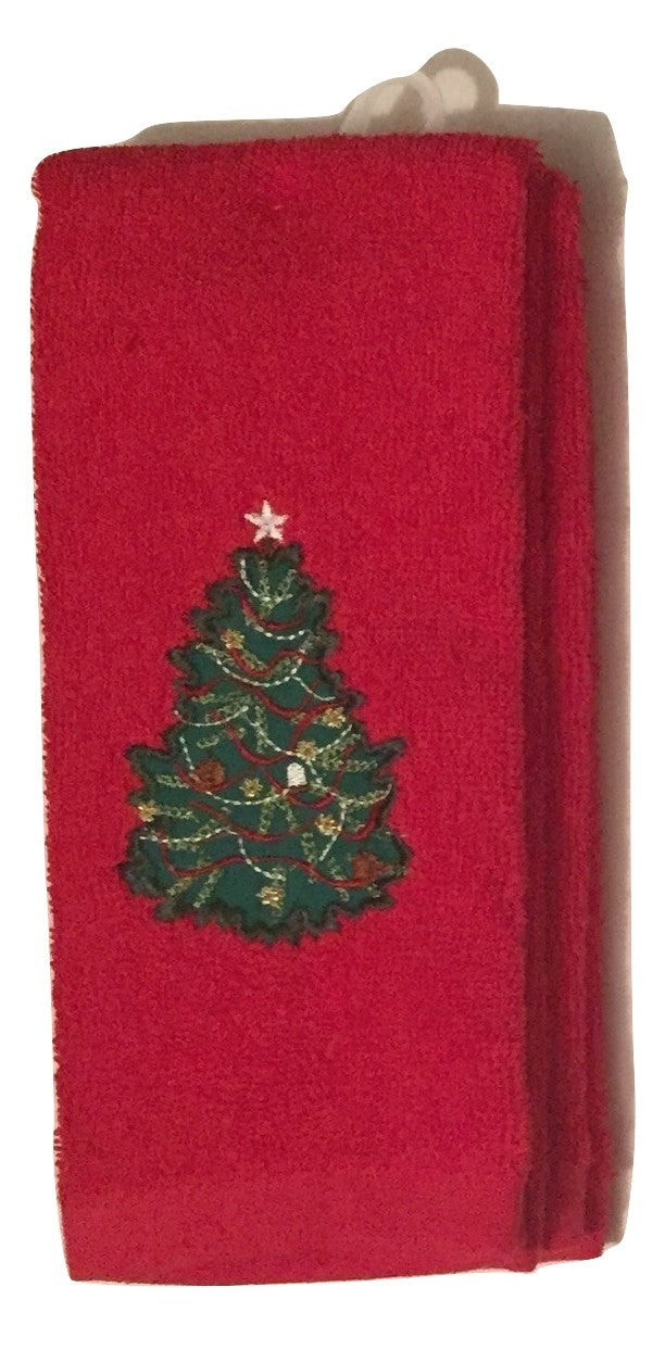 Red Traditional Christmas Tree Embroidered Fingertip Towels Set of 2