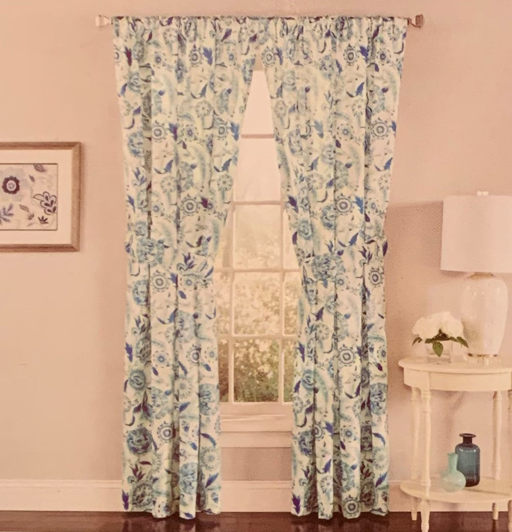 Waverly Grand Bazaar Sky Blue Panel Pair Curtains Floral 84 inch