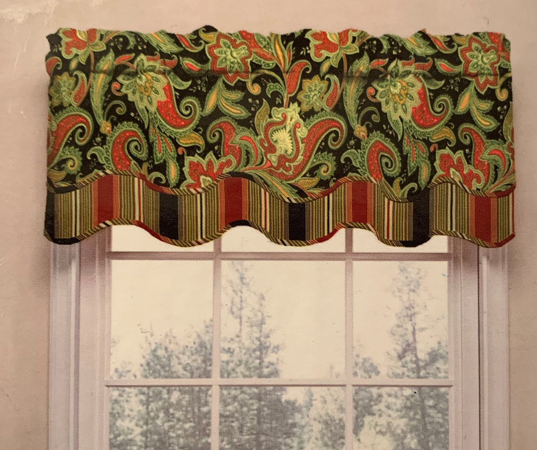 Waverly Valance Rustic Retreat Crimson Paisley Floral
