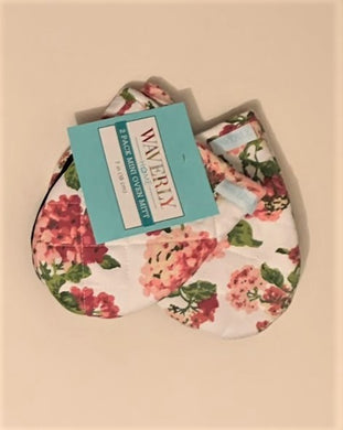 Waverly Pink Floral 2 Pack Mini Oven Mitts