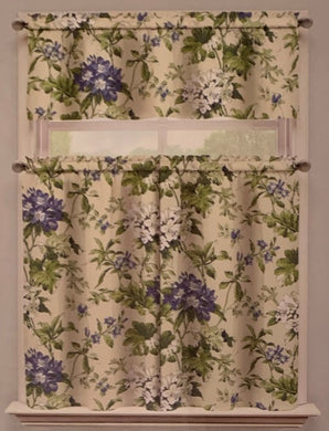 Waverly Penelope Blue Green Floral Kitchen Curtain 36 inch Tier and Valance Set