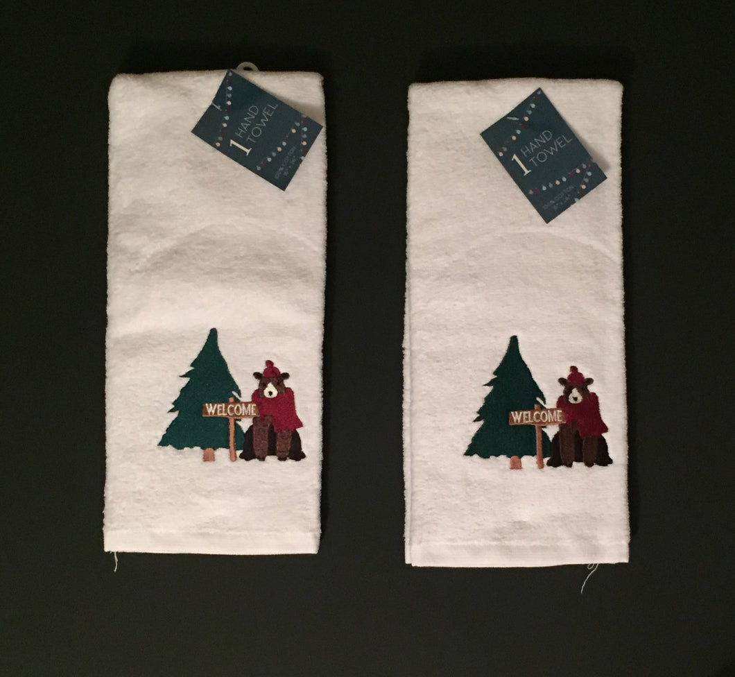 Christmas Tree Bear Set of 2 Hand Towels Welcome