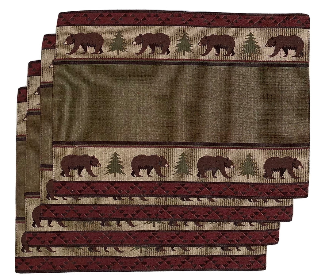 Windham Tapestry Placemats Set of 4 Bears Trees Woodland