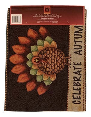 Windham Tapestry Table Runner Celebrate Autumn Turkey Thanksgiving Fall