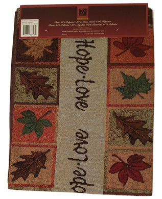 Faithful Autumn Faith Hope Love Fall Leaves Tapestry Table Runner 13x72
