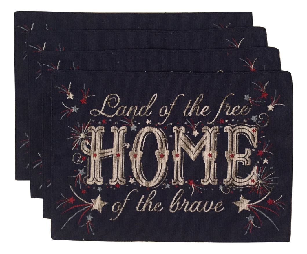 Land Free Home Brave Patriotic Americana Woven Tapestry Place Mats Set of 4 USA