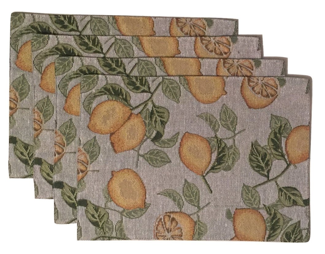 Windham Home Tapestry Fabric Placemats Set of 4 Lemons