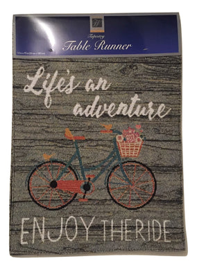 Tapestry Table Runner Lifes an Adventure Enjoy The Ride 13 x 72
