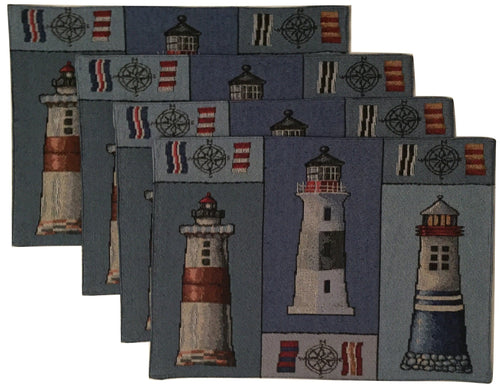 Windham Lighthouse Patchwork Tapestry Placemats Set of 4