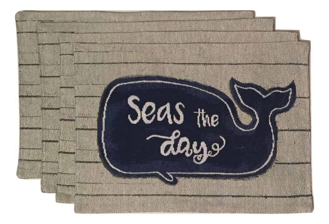 Windham Tapestry Placemats Set of 4 Sea the Day Whale Coastal Nautical