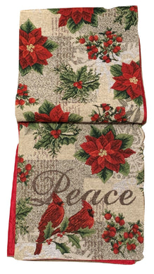 Windham Table Runner Tapestry Christmas Cardinals 13 x 72 Peace Poinsettias