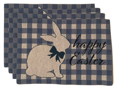 Blue Check Easter Bunny Set Tapestry Placemats Set of 4