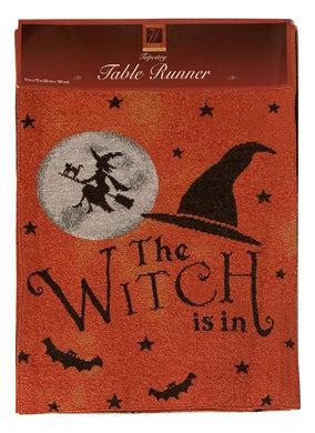 Windham Table Runner Tapestry Halloween The Witch Is In 13 x 72 Moon Witches Hat