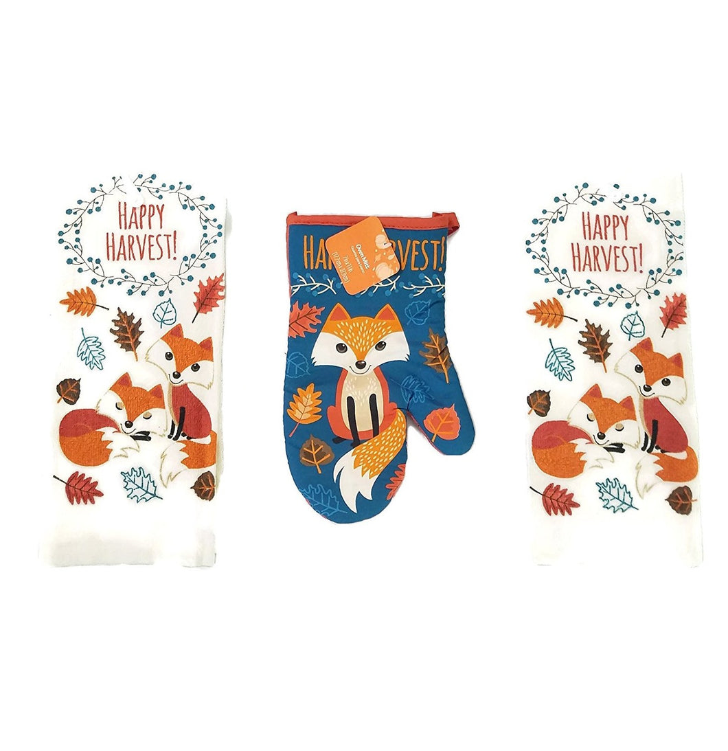 Woodland Fox 2 Kitchen Towels 1 Oven Mitt Happy Harvest