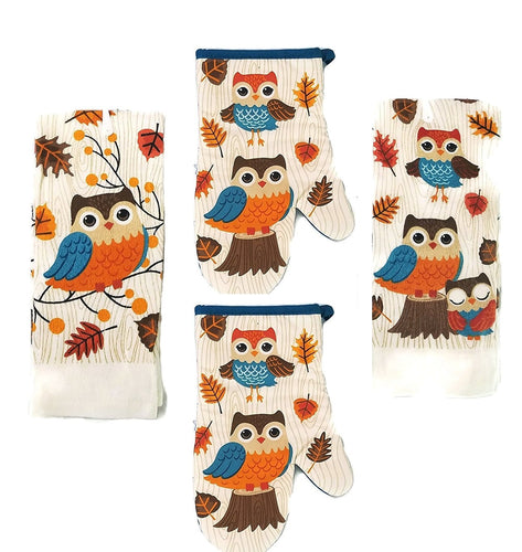 Woodland Owl 2 Kitchen Towels 2 Oven Mitts