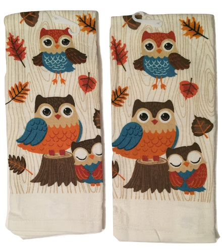 Fall Autumn Owl Trio Set of 2 Kitchen Towels Woodland