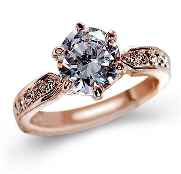 AAA CZ Diamond/ Rose gold Engagement Rings