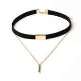 Velvet Choker Necklace Gold Chain Bar