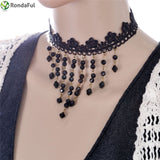 Gothic Tassel Lace Choker Necklace