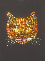 "Ladies Rhinestone Cat Face, ""The Face"" in Color"