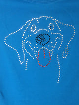 Ladies Rhinestone Happy Dog Tee